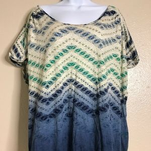 Lucky Brand Women's Size 2X Blue Green Cap Sleeve